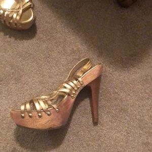 Gold studded heels